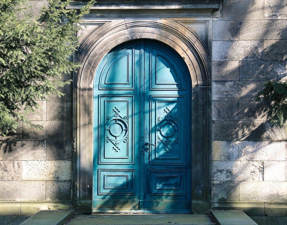 Closed Blue Wooden Door