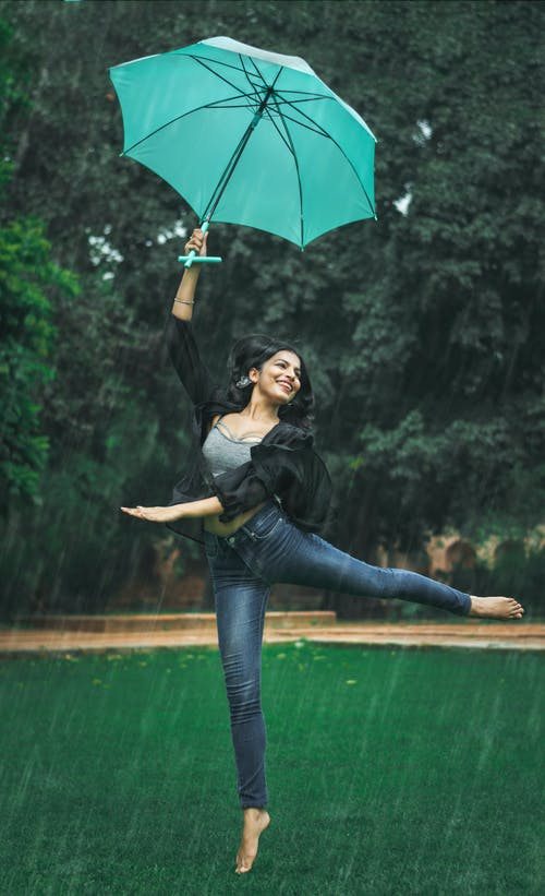 Free stock photo of #outdoorchallenge, challenge, Girl in rain, girl with umbrella