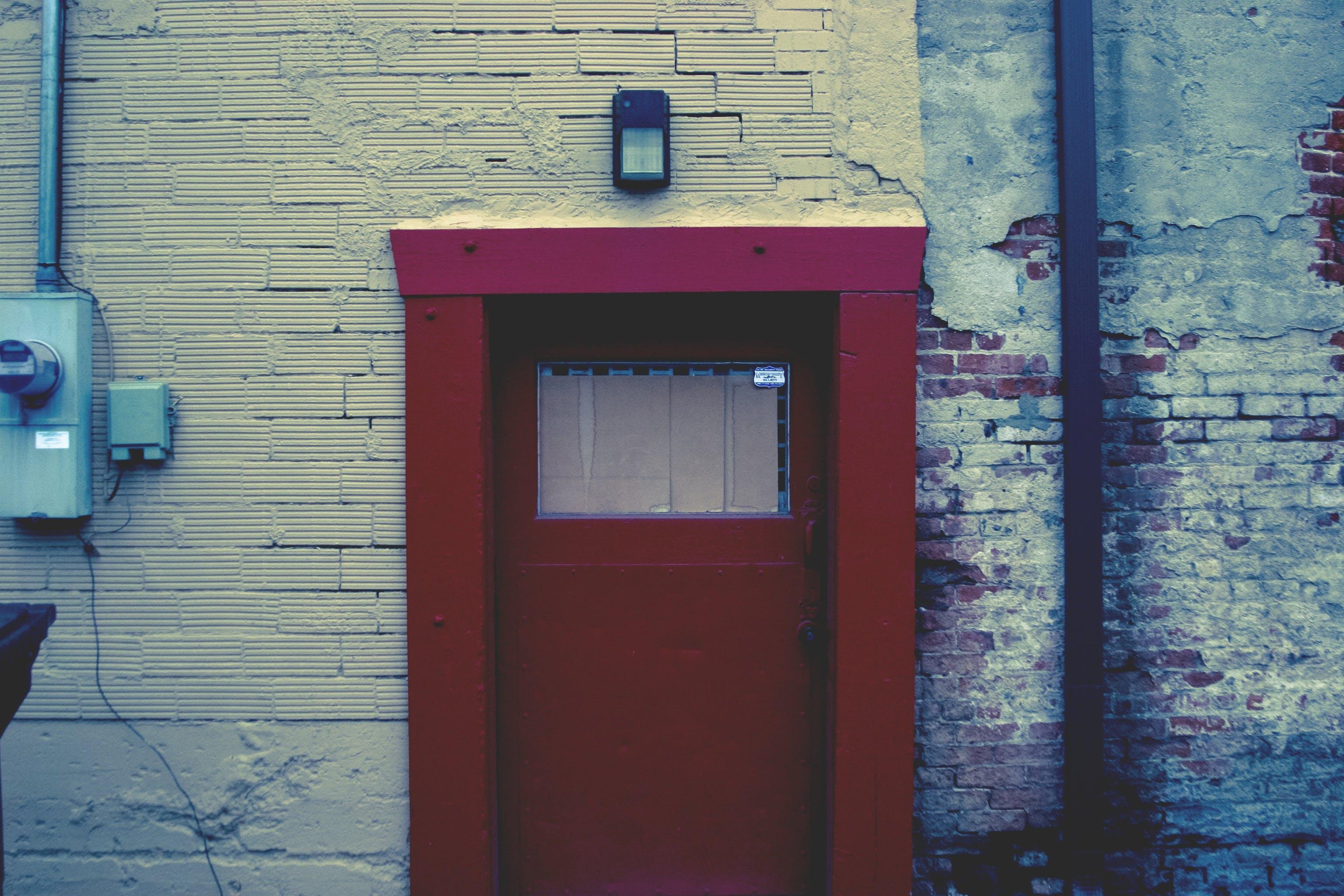 bricks, building, door