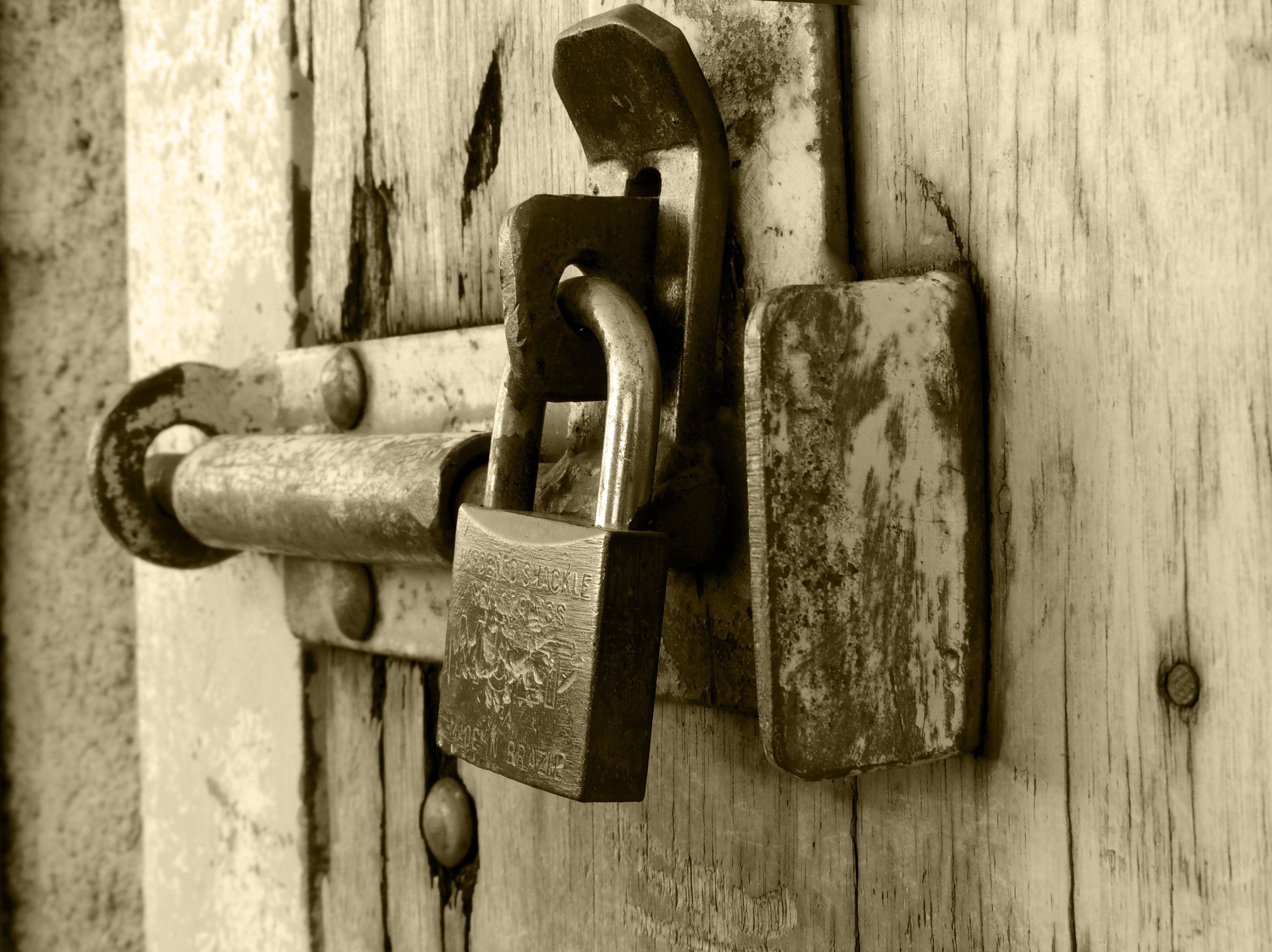 iron, latch, lock