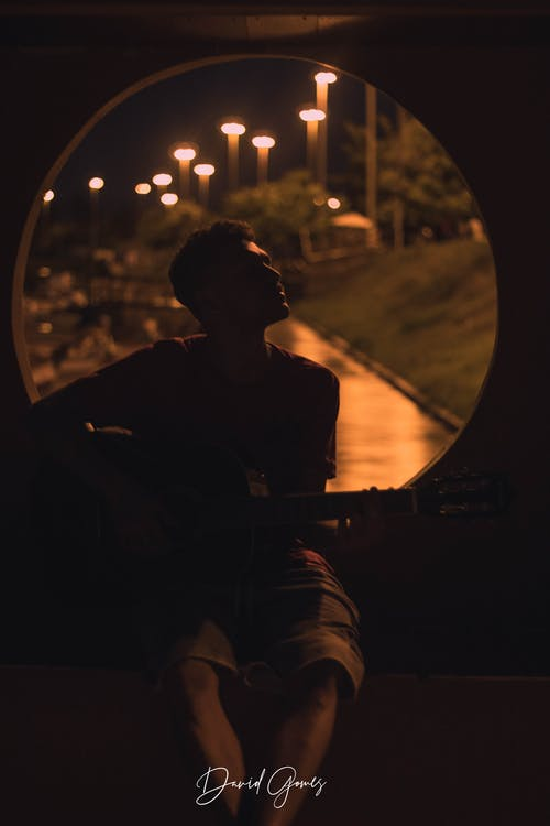 Free stock photo of acoustic guitar, calm, evening, moon