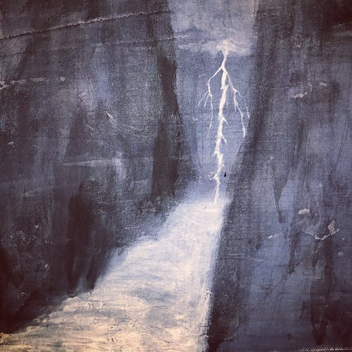 Painting Of A River With Lightning