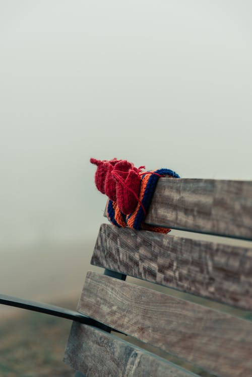 Knit Booties on Bench