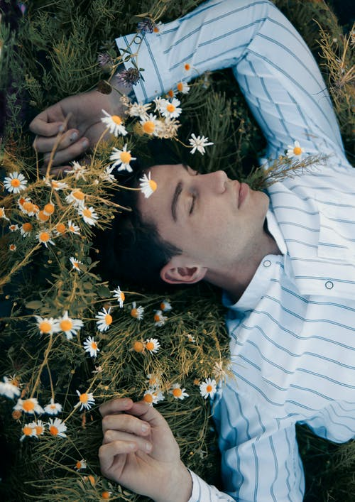 Man Lying on Grass Beside Chamomile Flowers
