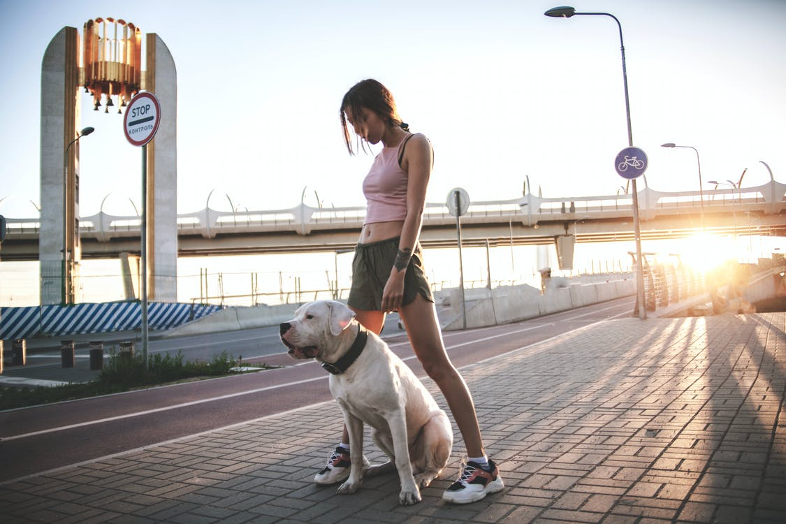 Photo of Woman Standing by Her Dog