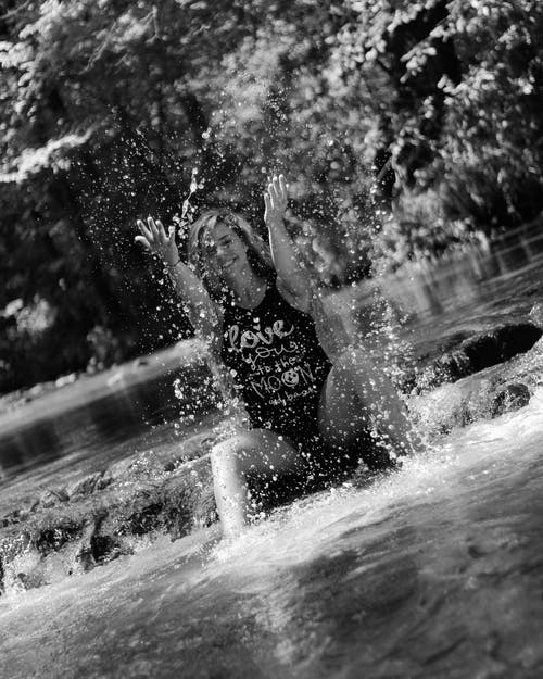 Free stock photo of beautiful woman, black and white, creek