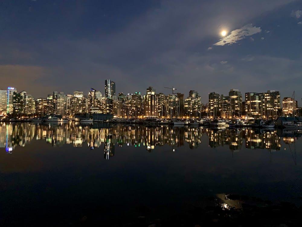 city, moon, ocean