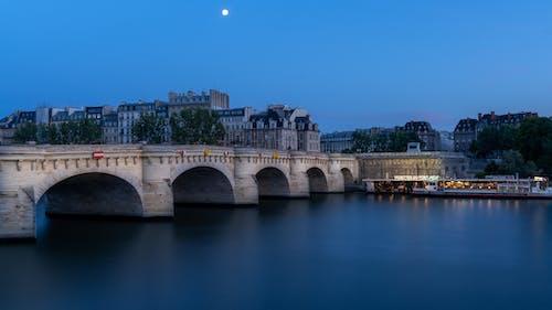 Free stock photo of bridge, city, moon, night