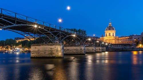 Free stock photo of bridge, city, lights, moon