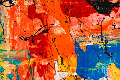 Orange and Multicolored Abstract Painting