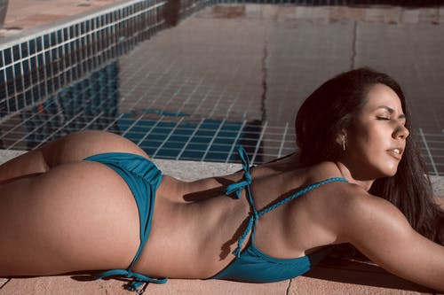 Free stock photo of bikini, bikini top, dug out pool