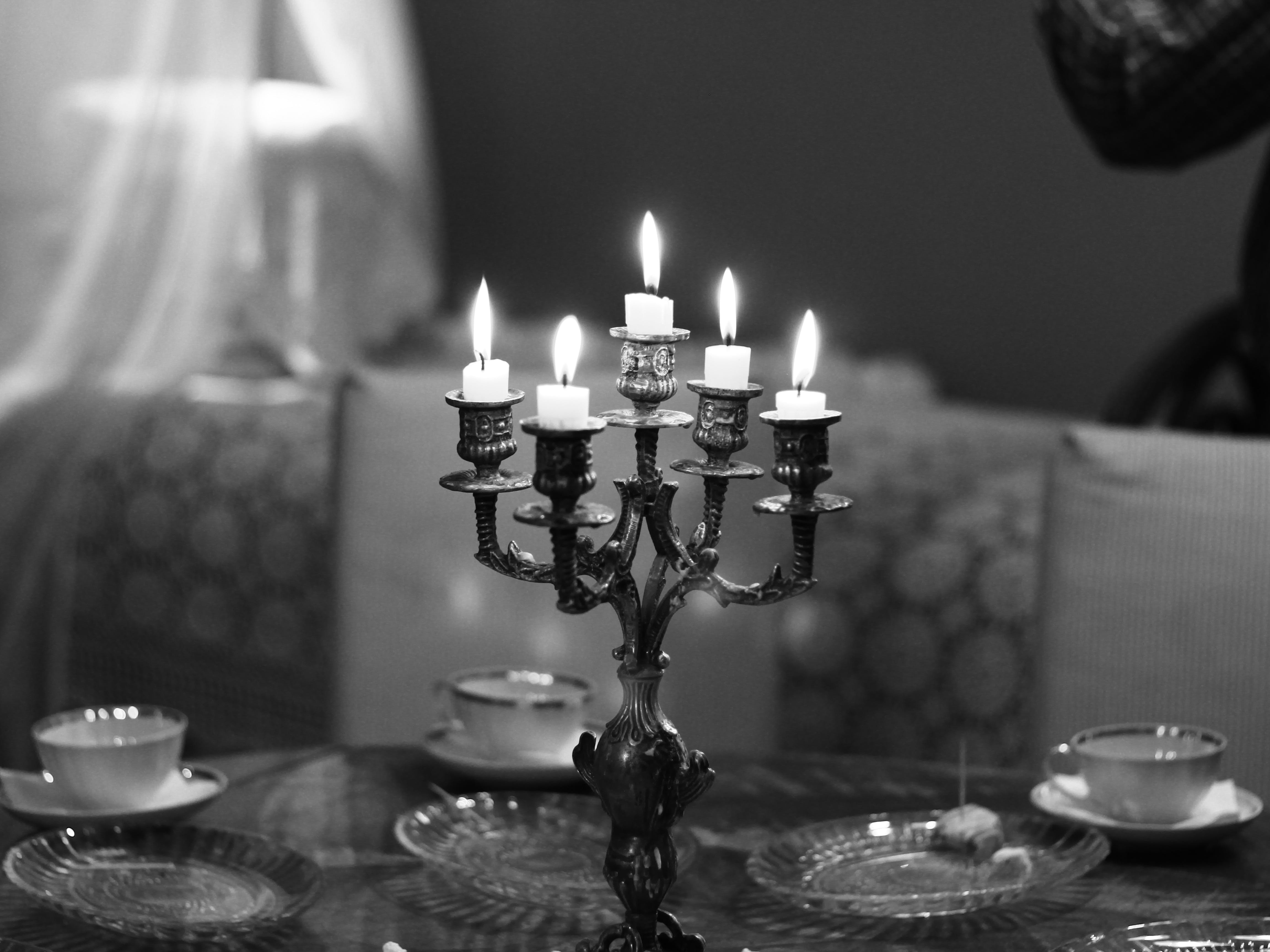 black-and-white, candlelight, candles