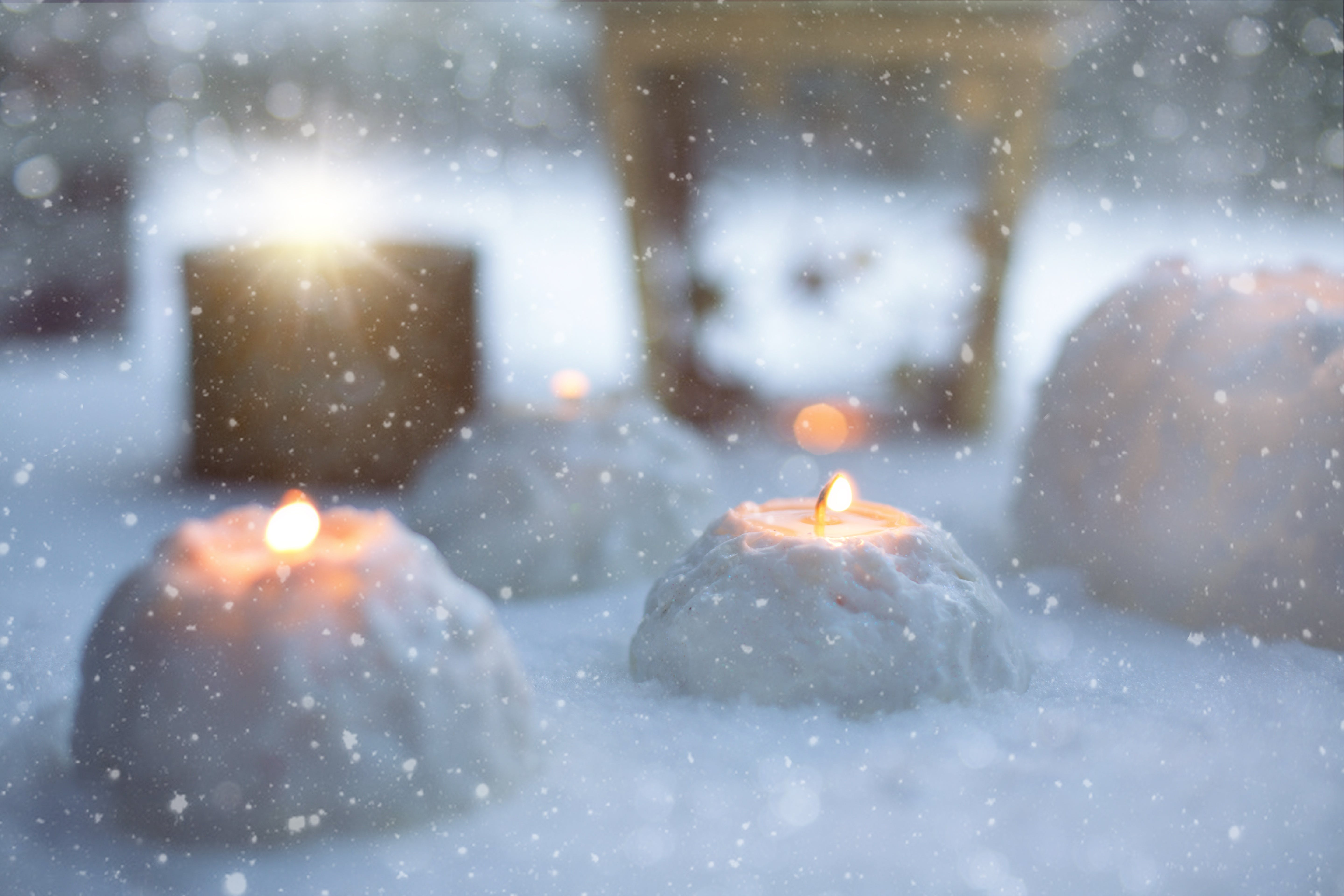 Two Candles Filled With Snows