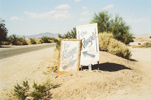 Free stock photo of road, sign, range