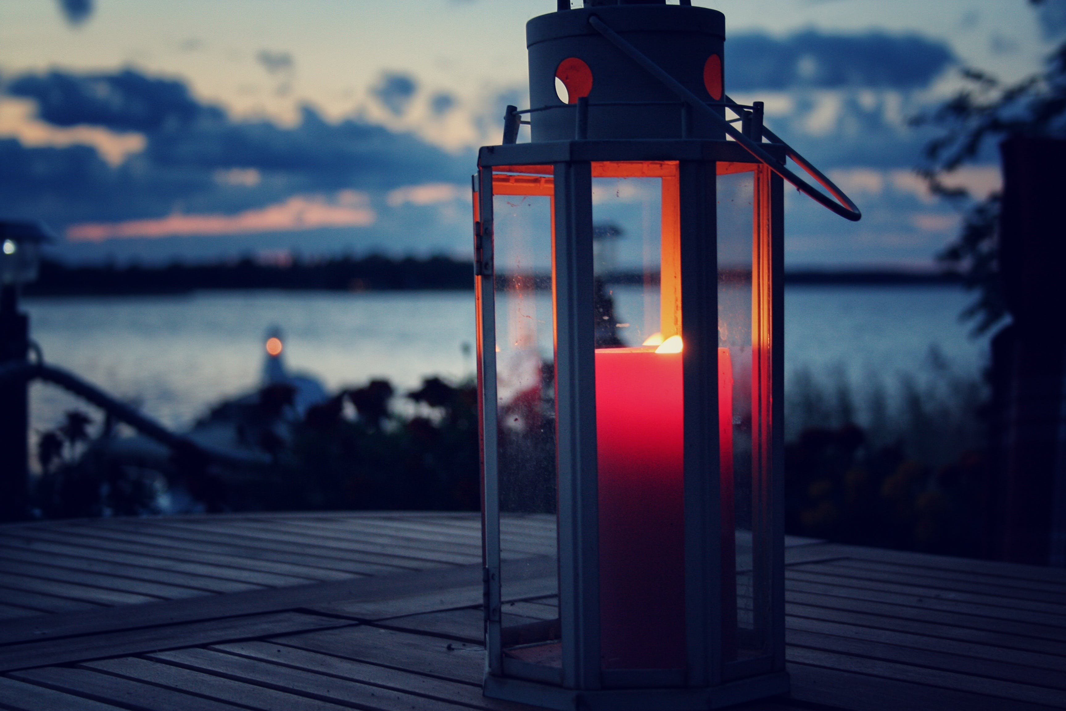 Red Pillar Candle in White Lamp