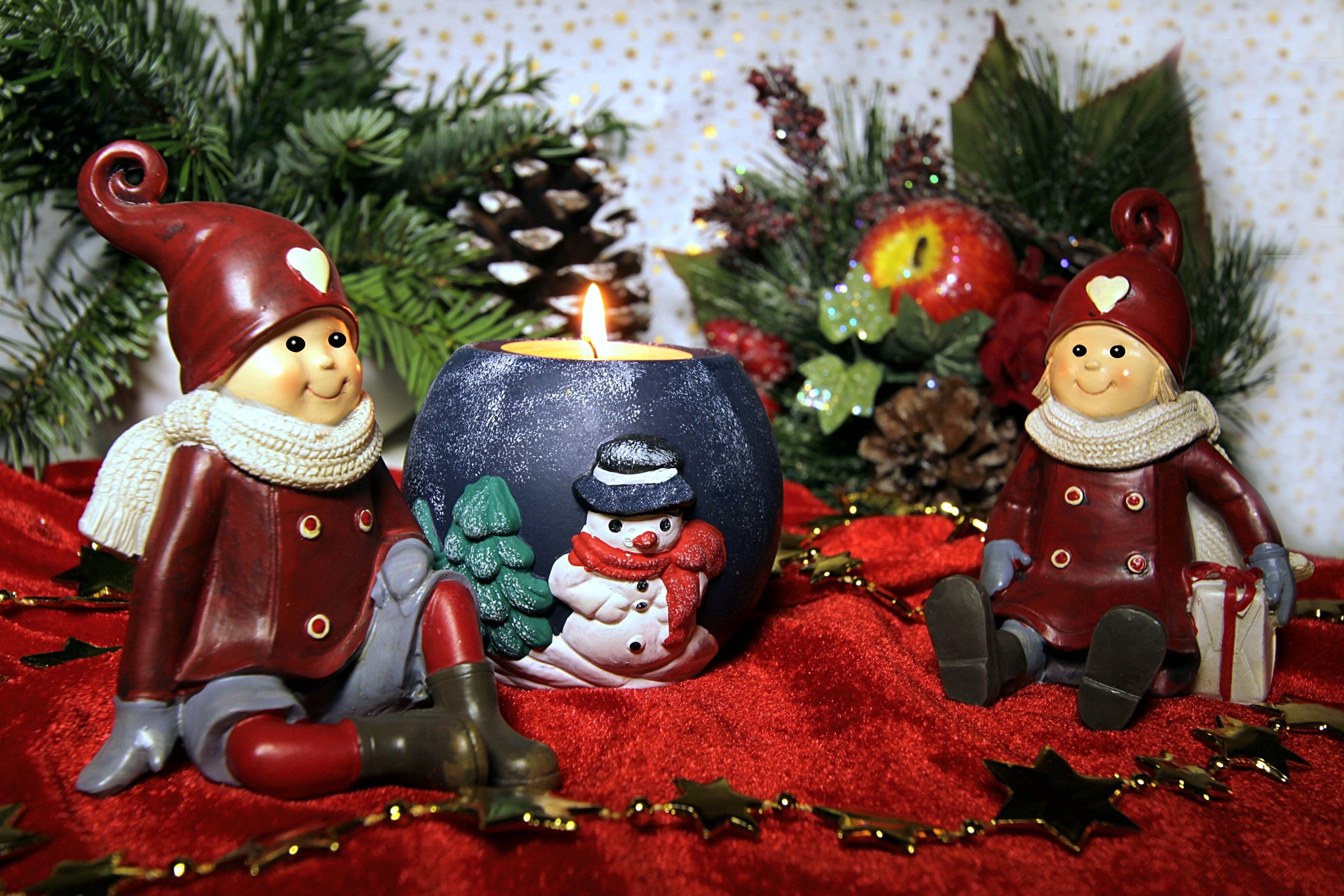 Free stock photo of christmas candle, dwarfs, sitting, still life