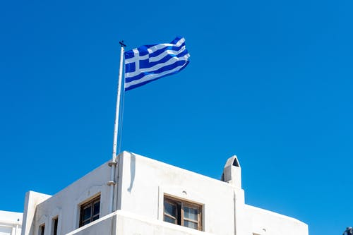 Free stock photo of blue sky, flag, greece, naxos