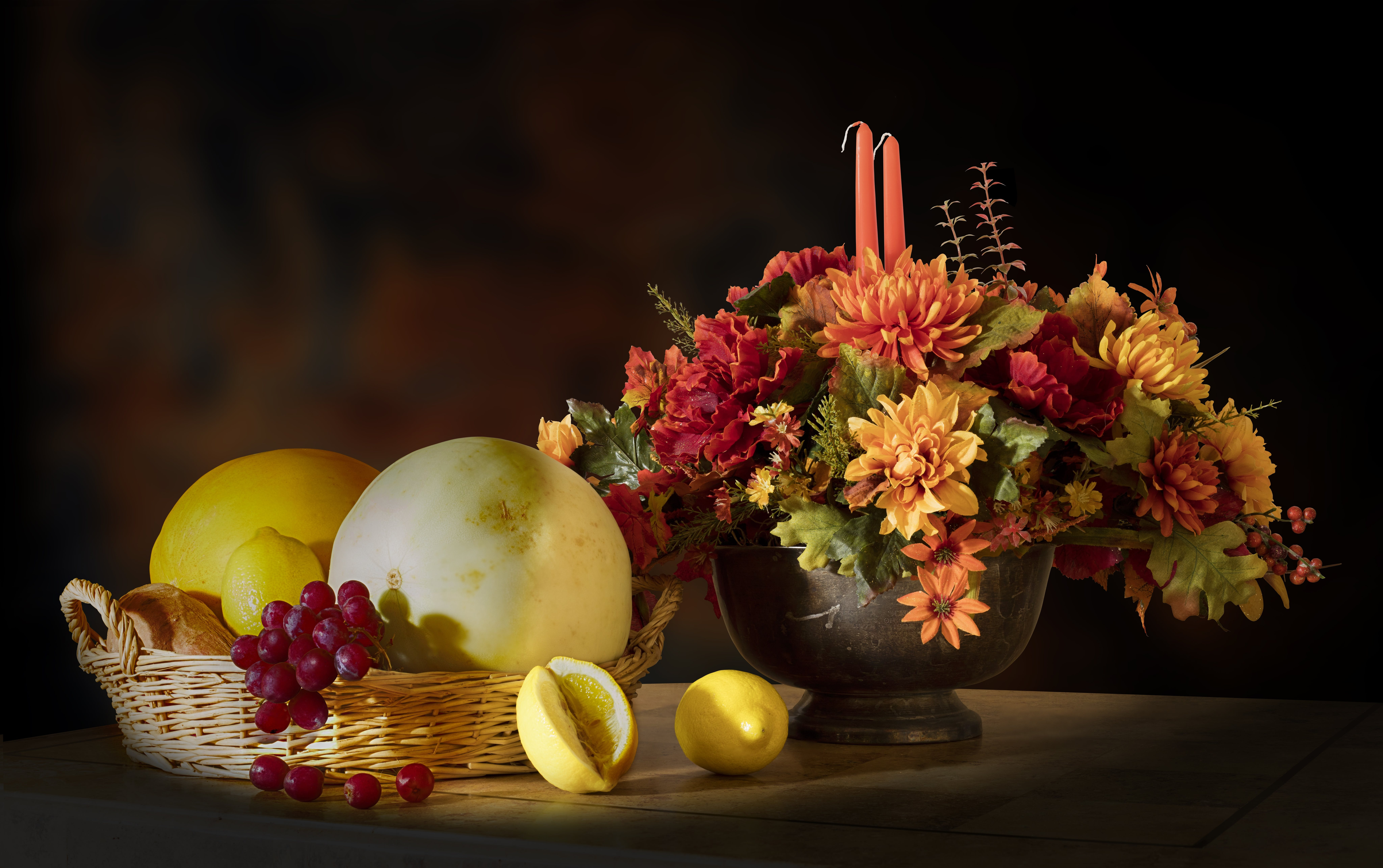 Still Life of Flowers and Fruits on Table