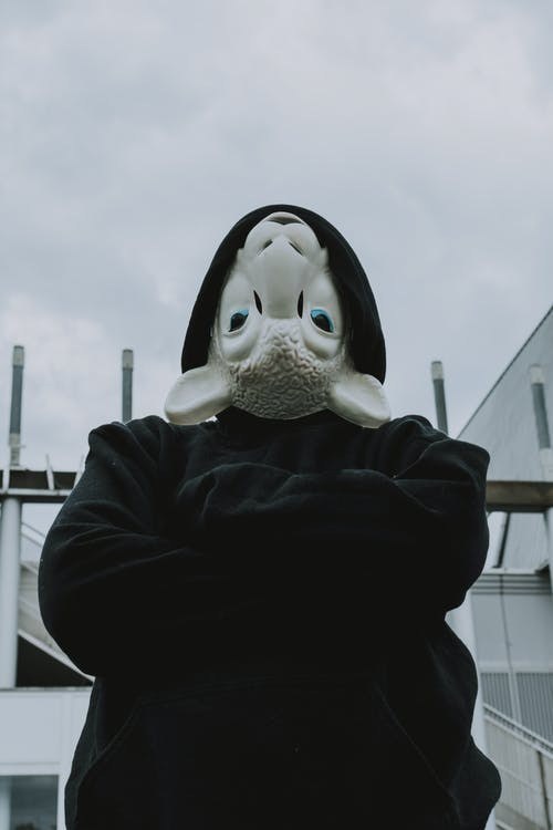 Man Wearing Upside Down Sheep Mask