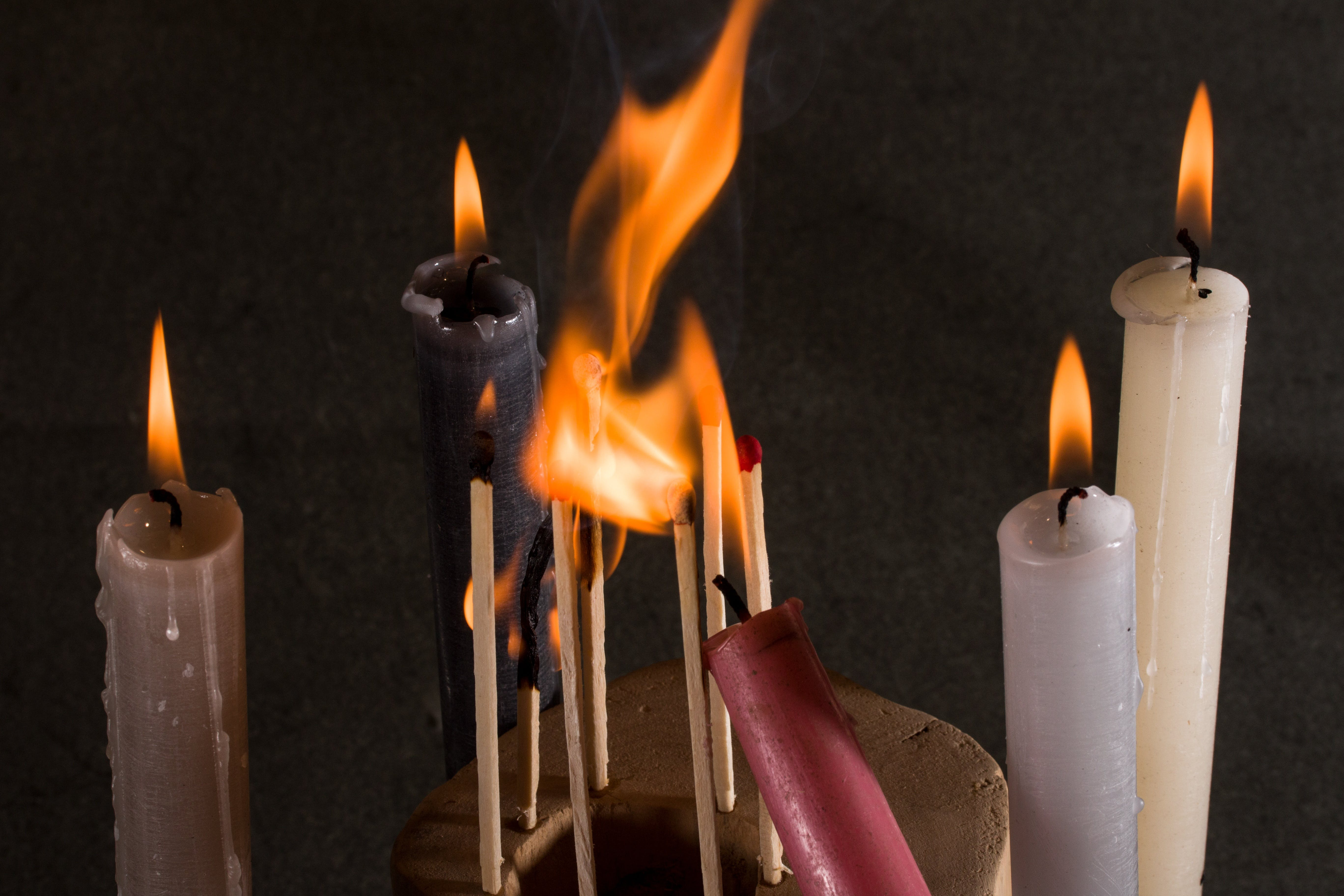 Free stock photo of fire, candles, matches, flame