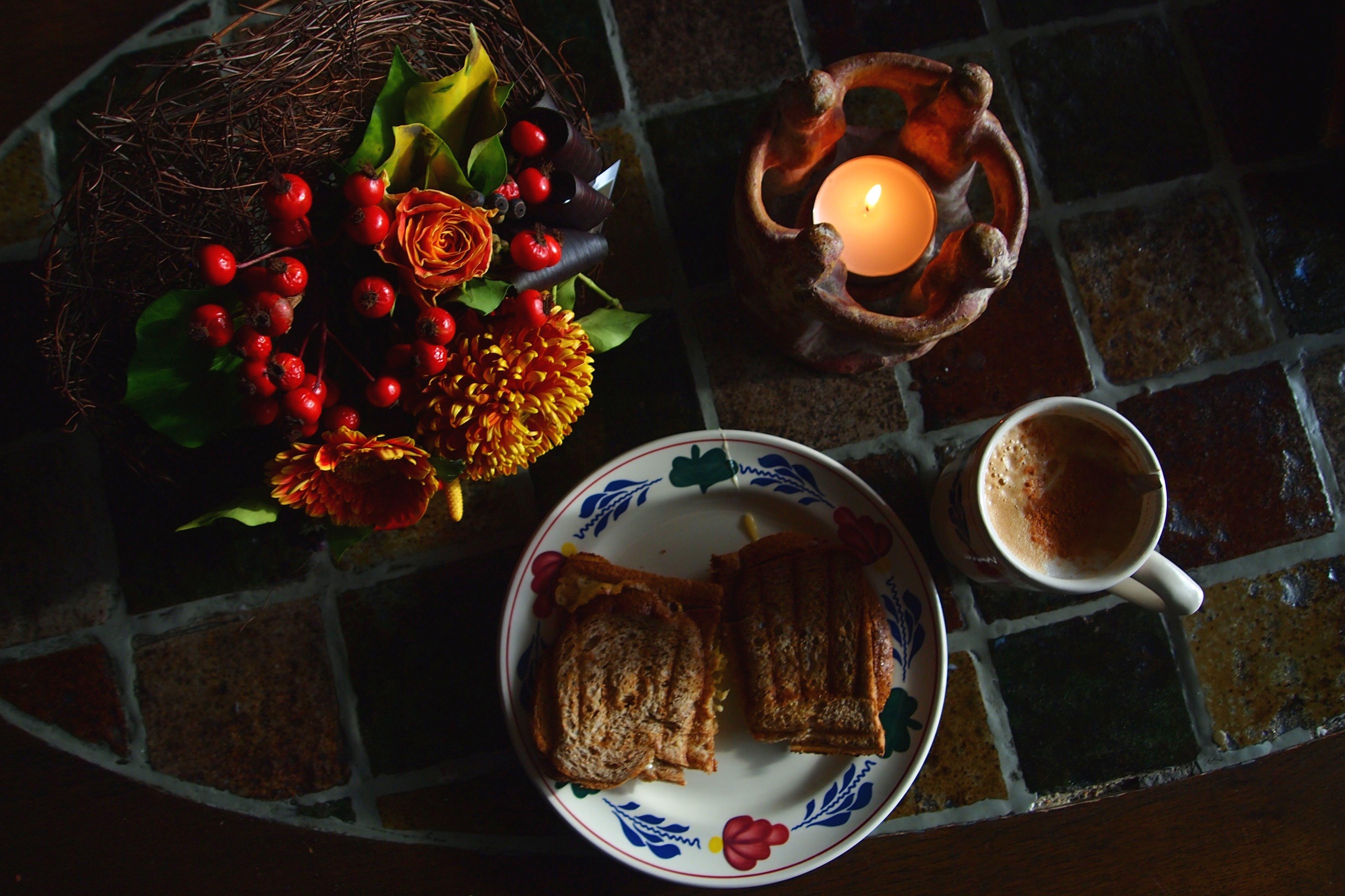 Free stock photo of sandwich, mug, dark, breakfast