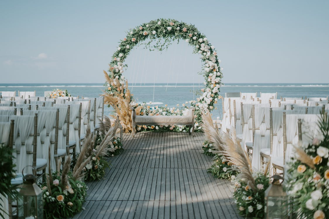 Floral Arch Zoom Wedding Backgrounds