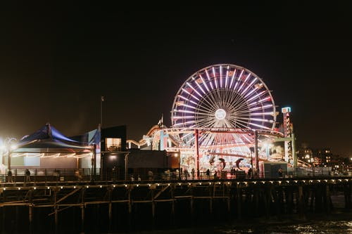 Lighted Amusement Park at Night