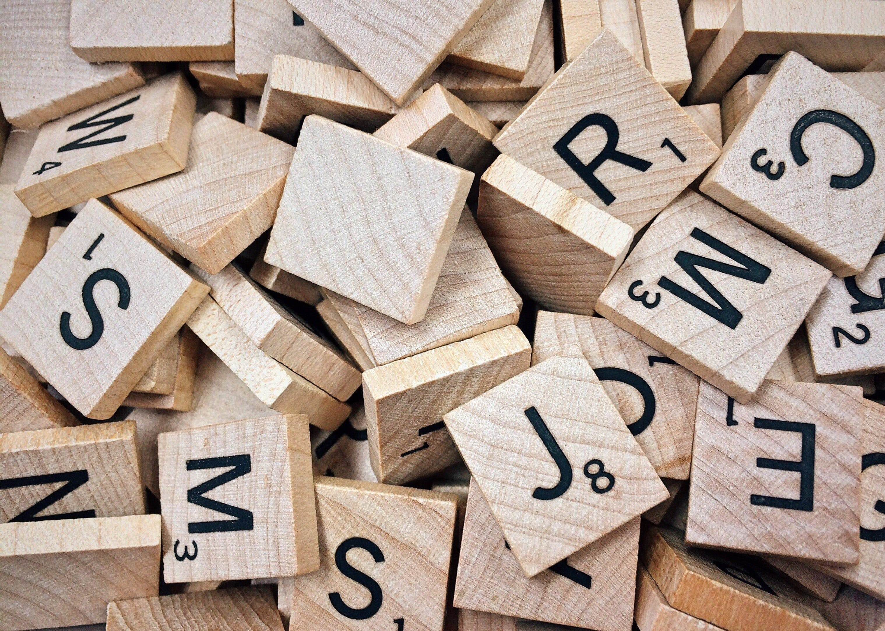 Brown Scrabble Boards With Letters