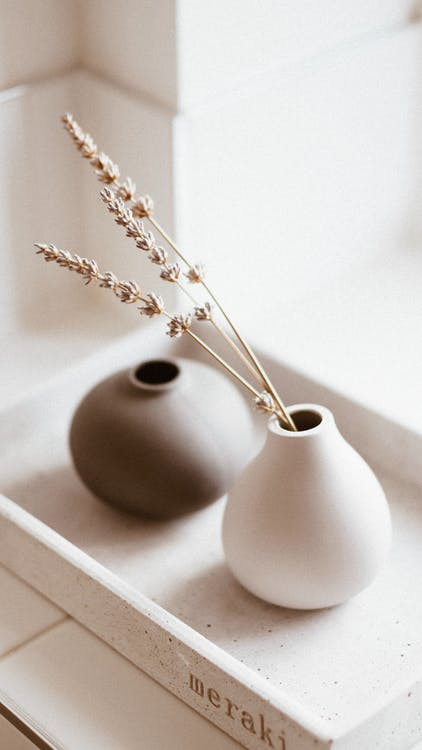 White and Brown Vases