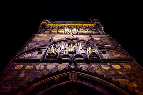 Free stock photo of architectural design, bridge tower, Charles Bridge, dark background