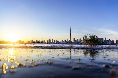 傍晚的太陽, 加拿大國家電視塔, 反射, 地平線 的 免费素材照片