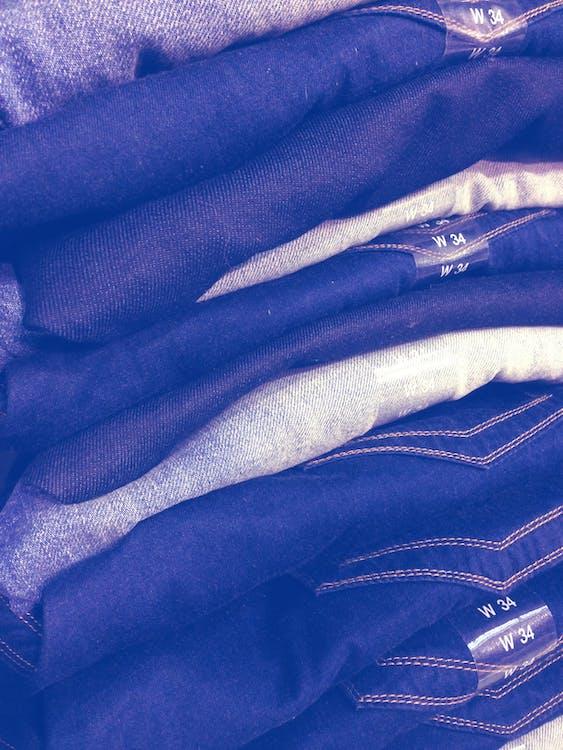 blå, bomull, brettet