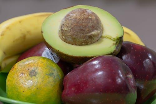 apple, makro, muz, Portakal içeren Ücretsiz stok fotoğraf