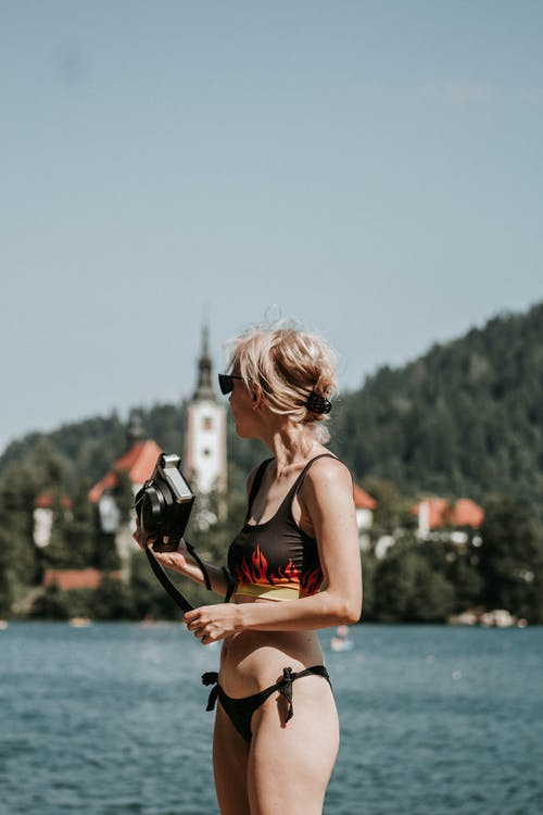 Woman Wearing Black Bikini Close-up Photography