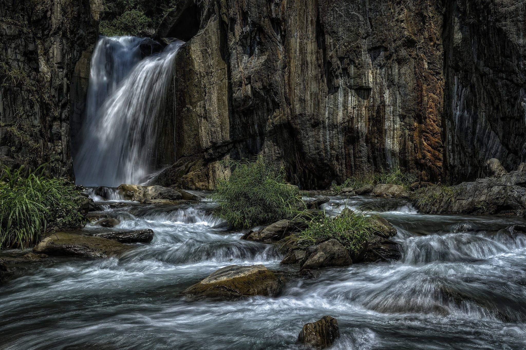 cascade, creek, nature