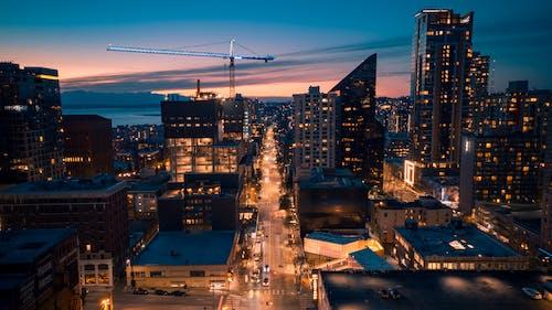 Ảnh lưu trữ miễn phí về bình minh, các tòa nhà, cần cẩu, cảnh quan thành phố