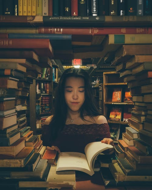 Lady Reading a Book in a Library