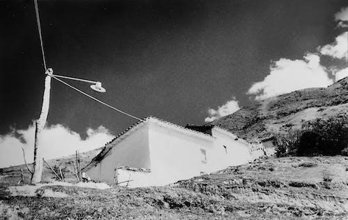 Free stock photo of #analogic film, BW photography, mountain view, small town