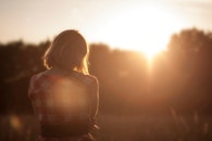sunset, person, girl