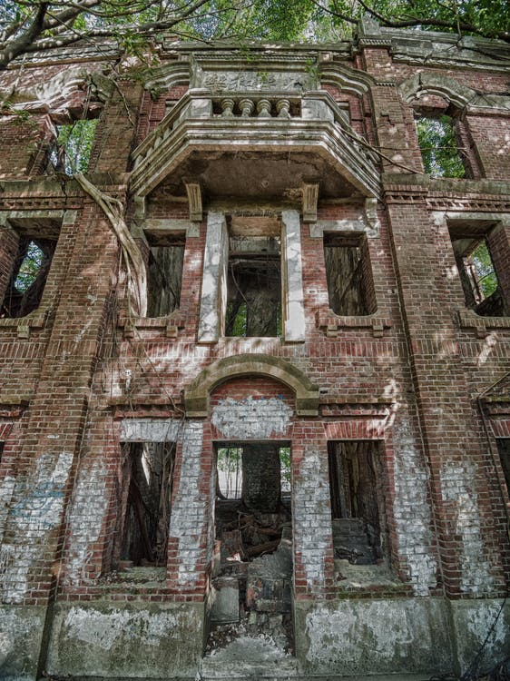 bangunan, berantakan, beton