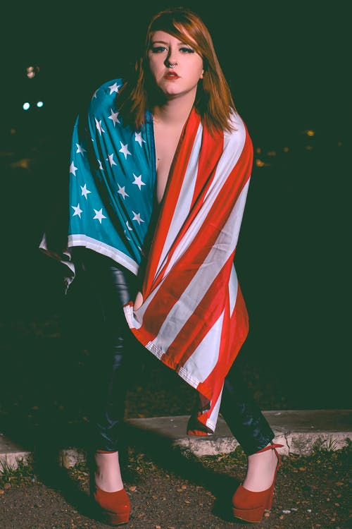 Free stock photo of American flag, American Girl, expression, fourthofjuly