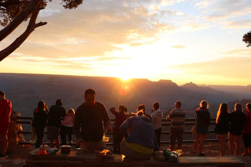 Free stock photo of grand canyon, morning light, people, sunglow