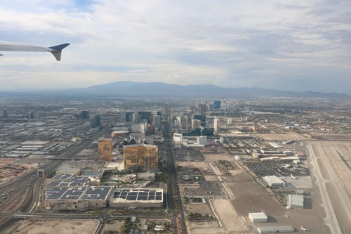 Free stock photo of aerial view, airplane, city of sin, daytime