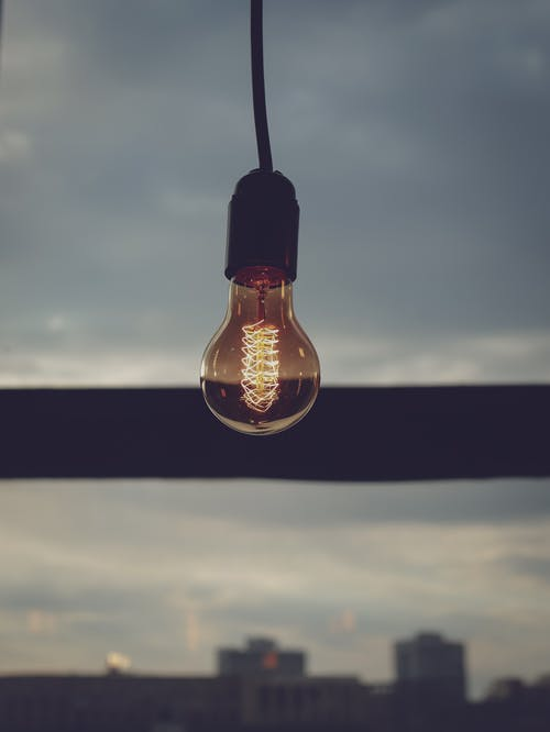 Turned-on Brown Light Bulb