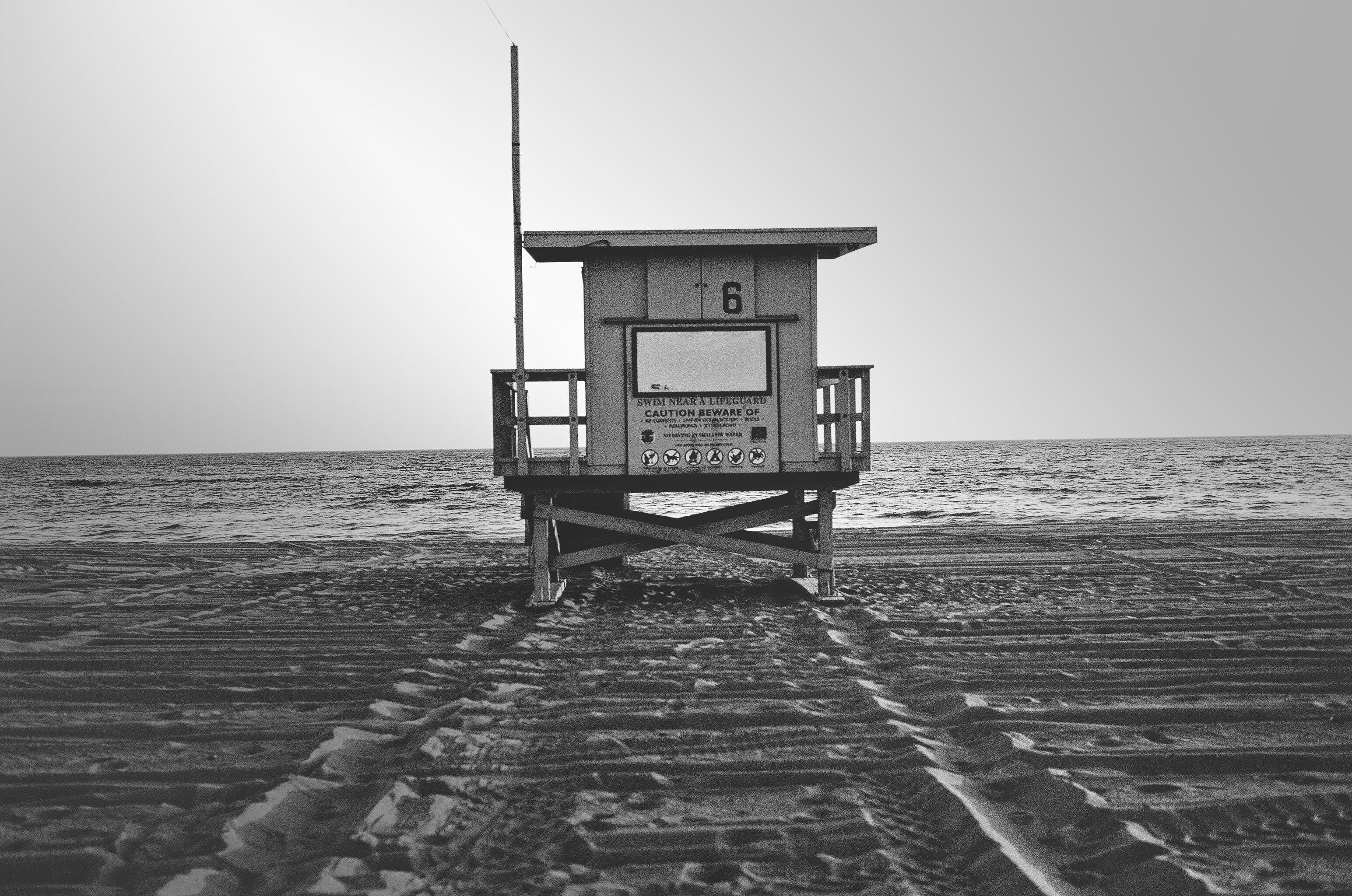 Free stock photo of black-and-white, beach, life guard, safety