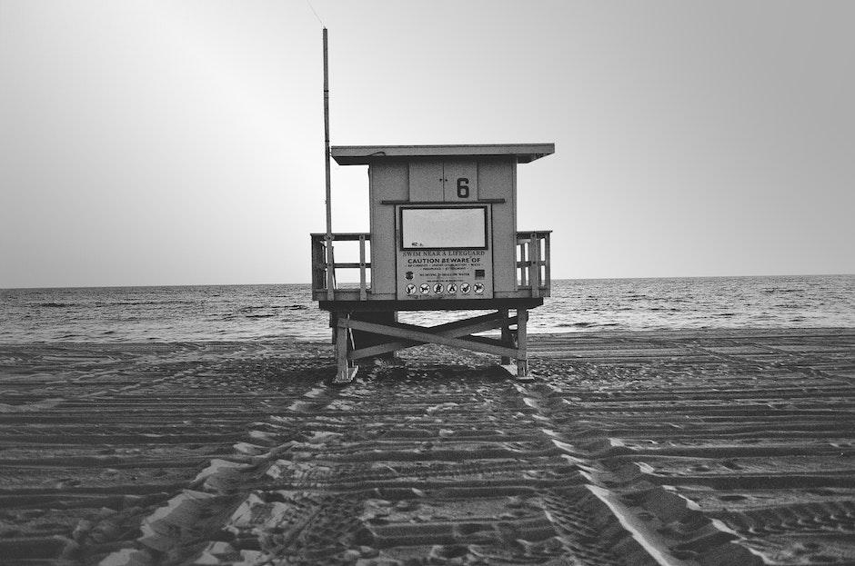 beach, black-and-white, life guard