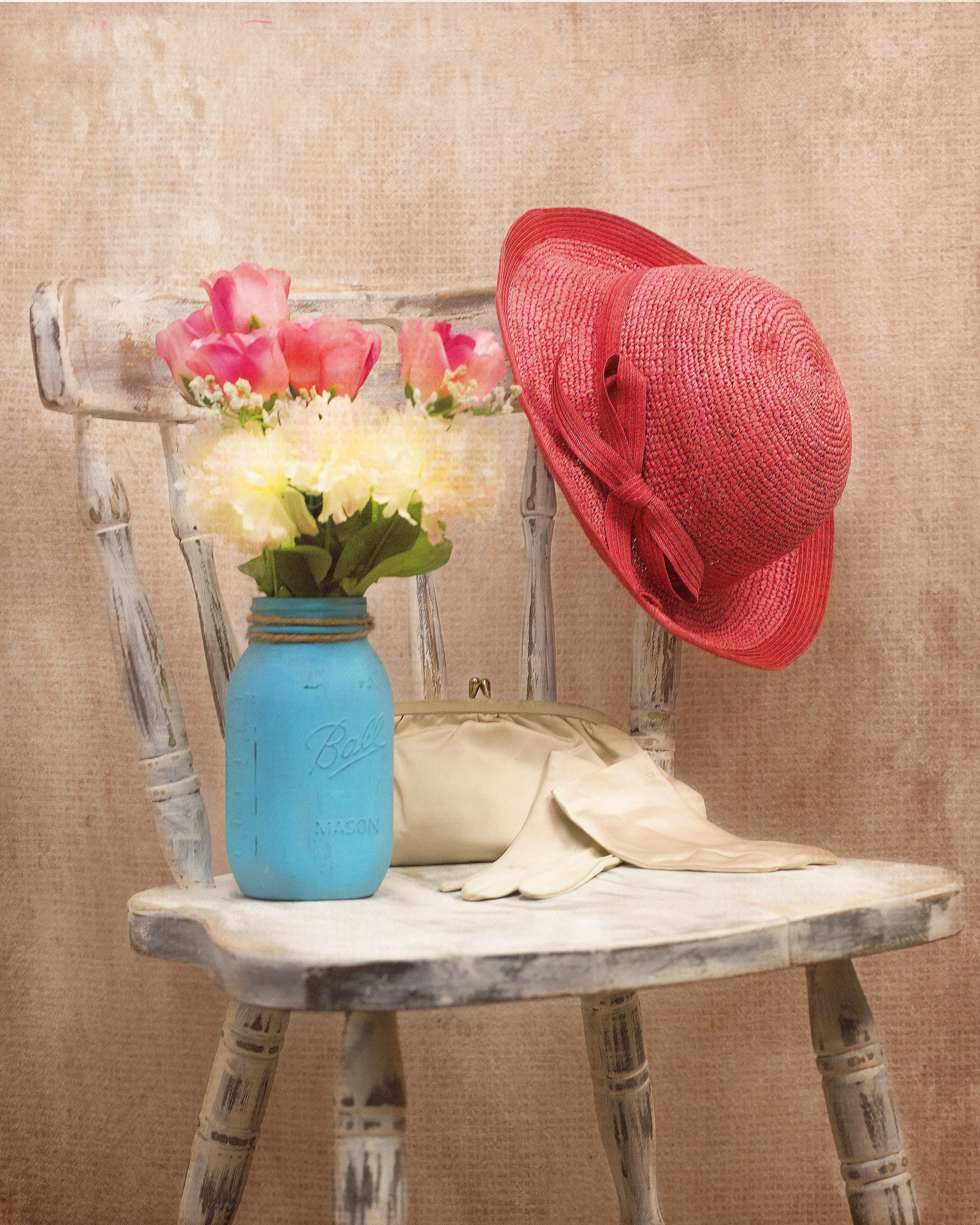 Red Summer Hat on Gray Wooden Chair