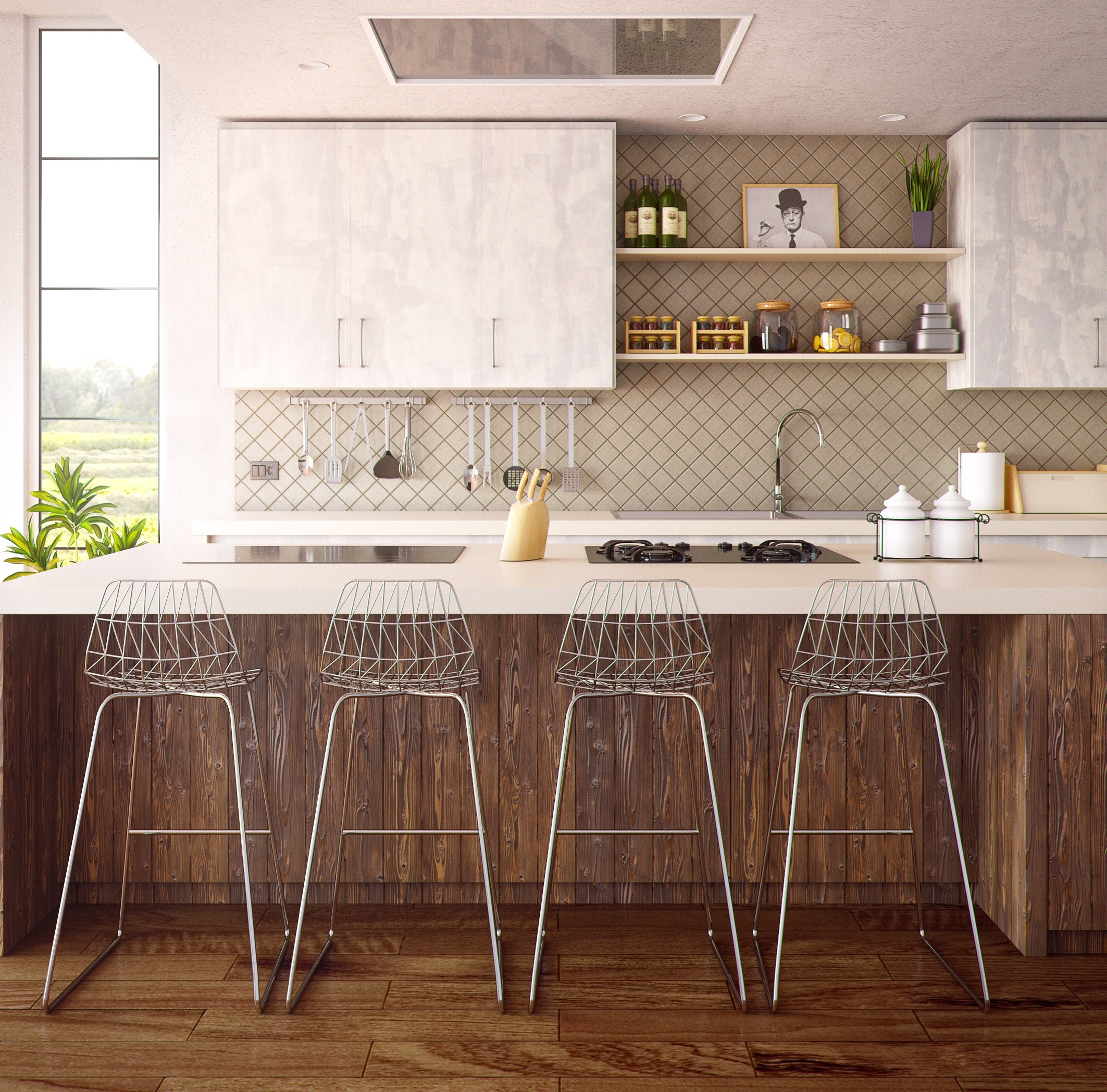 Four Gray Bar Stools in Front of Kitchen Countertop · Free ...