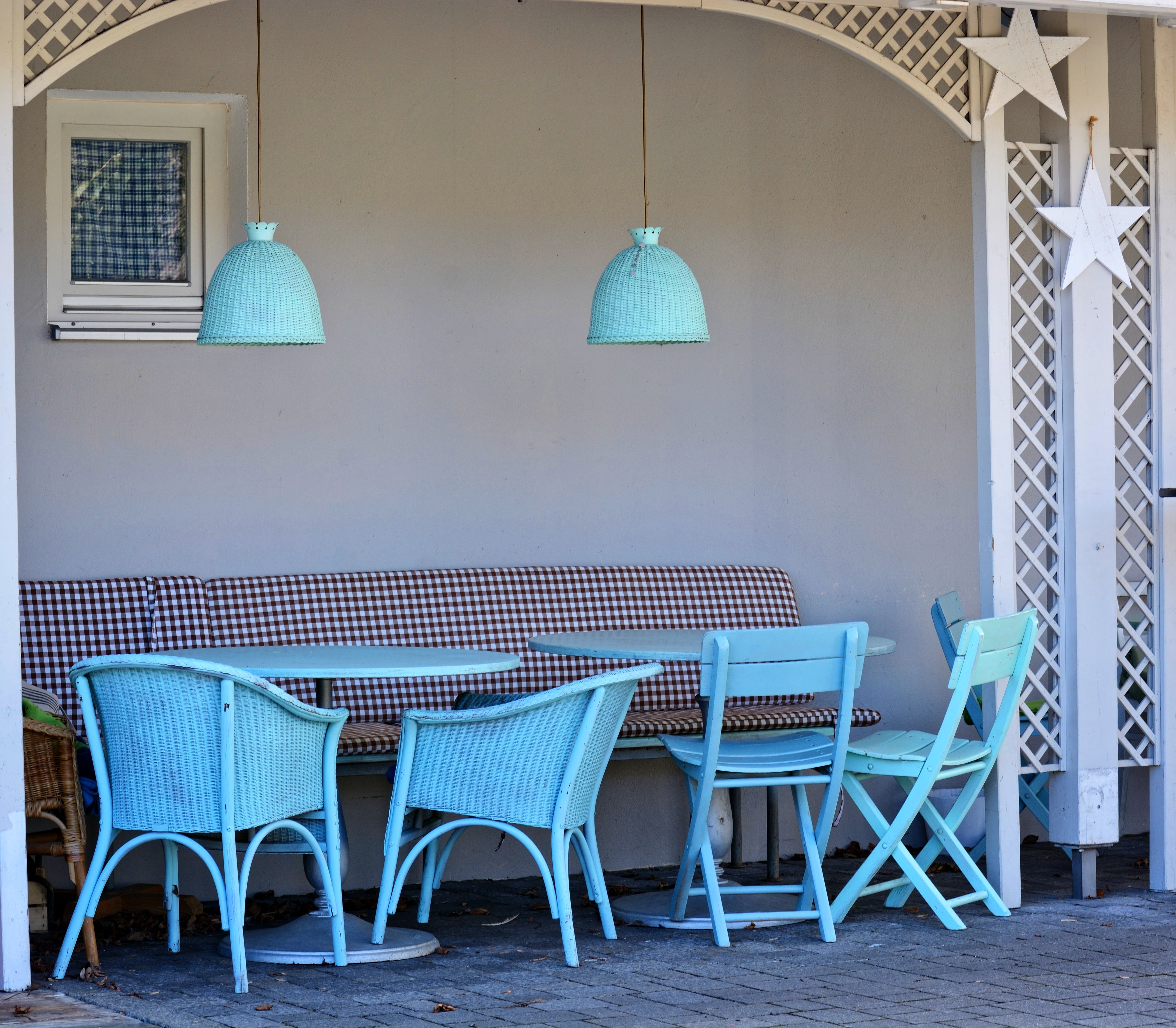 Teal Wooden Table and Chairs