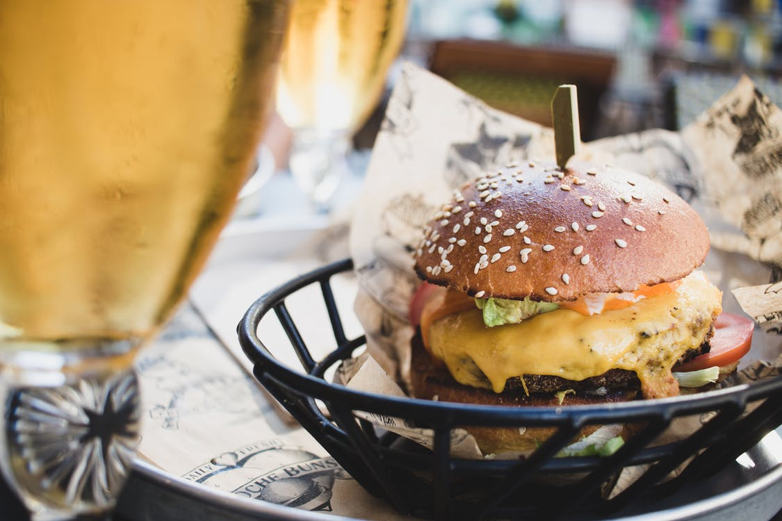 Hamburger on Tray